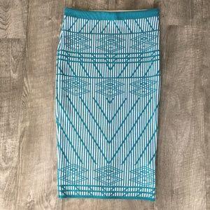 Aztec Bodycon Midi Skirt